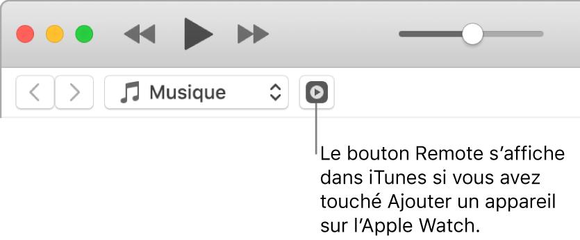 Le bouton Remote s'affiche dans iTunes pendant l'ajout de la bibliothèque sur l'AppleWatch.