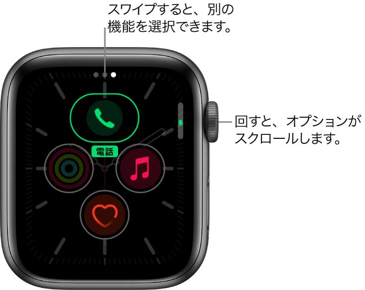 「メリディアン」文字盤のカスタマイズ画面。「電話」コンプリケーションが強調表示されています。Digital Crownを回すと、オプションを変更できます。