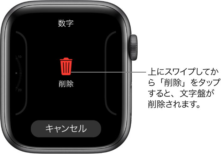 「削除」ボタンと「キャンセル」ボタンが表示されているApple Watchの画面。これらのボタンは、いずれかの文字盤までスワイプしてから、削除するために上にスワイプしたときに表示されます。