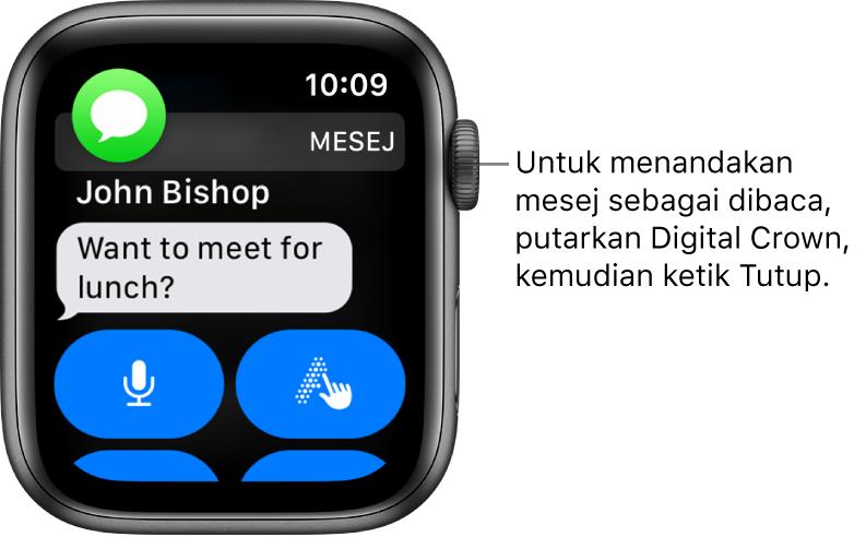 Pemberitahuan mesej, dengan ikon Mesej di penjuru kiri atas dan mesej di bawah.