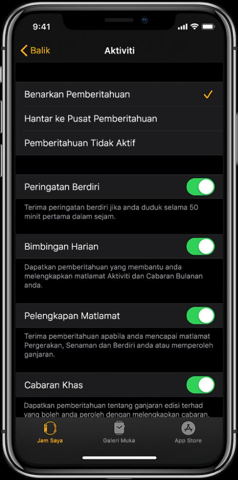 Skrin Aktiviti dalam app Apple Watch, di mana anda boleh sesuaikan pemberitahuan yang anda ingin dapatkan.