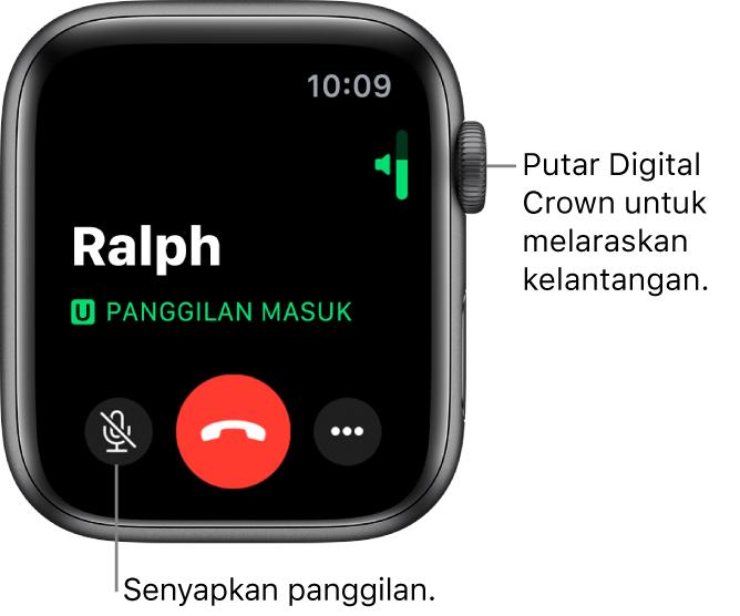 Semasa panggilan telefon masuk, skrin menunjukkan penunjuk kelantangan menegak di bahagian kanan atas, butang Senyap di bahagian kiri bawah, butang Tolak merah dan butang Pilihan Lanjut.