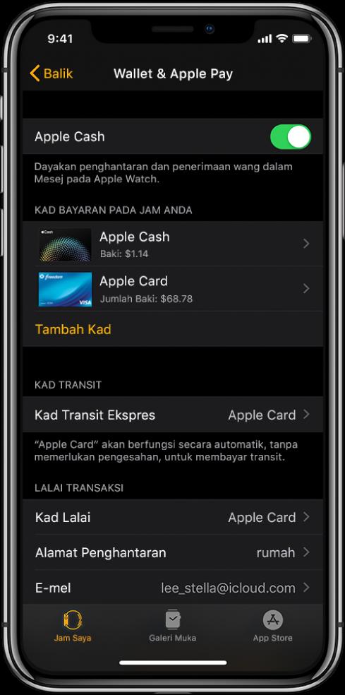 Skrin Wallet & ApplePay dalam app Apple Watch pada iPhone. Skrin menunjukkan kad yang ditambah ke Apple Watch, kad yang anda pilih untuk digunakan untuk transit ekspres dan seting lalai transaksi.