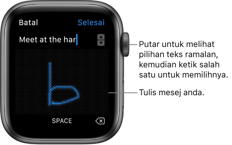 Skrin di mana anda mencoret balasan teks. Pilihan teks ramalan muncul di bahagian atas dan anda menulis mesej anda di tengah.
