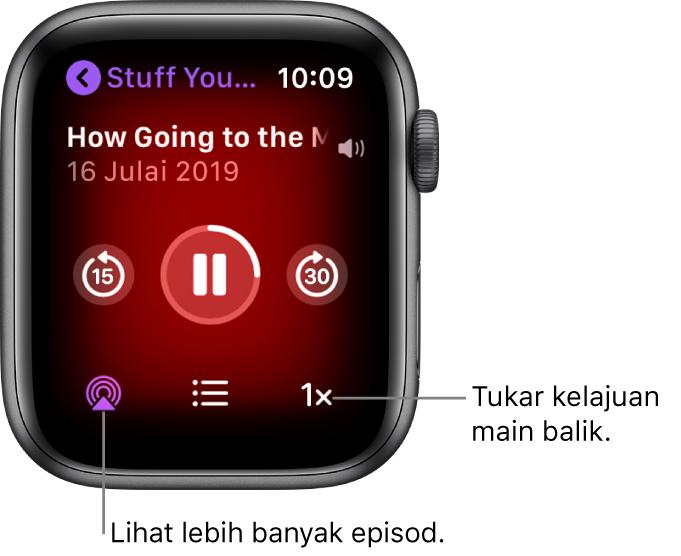 Skrin Kini Dimainkan Podcast menunjukkan tajuk rancangan, tajuk episod, tarikh, butang langkau ke belakang 15 saat, butang jeda, butang langkau ke depan 30 saat, butang episod, penunjuk kelantangan dan butang kelajuan main balik.