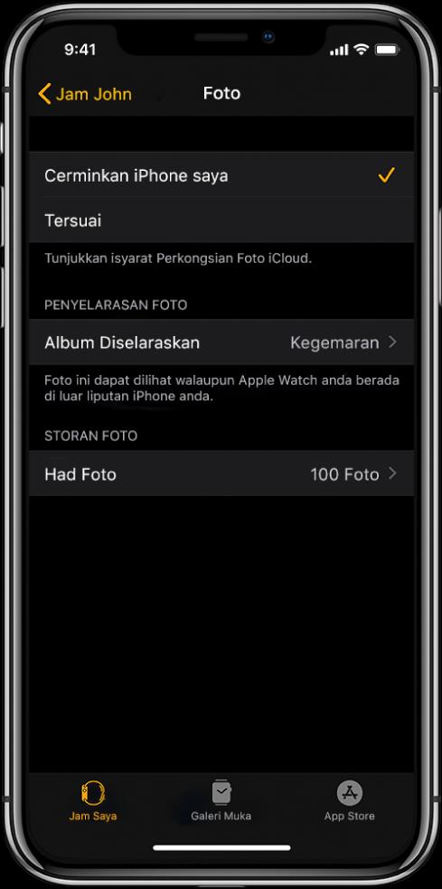 Seting foto dalam app Apple Watch pada iPhone, dengan seting Album Diselaraskan di tengah dan seting Had Foto di bawahnya.