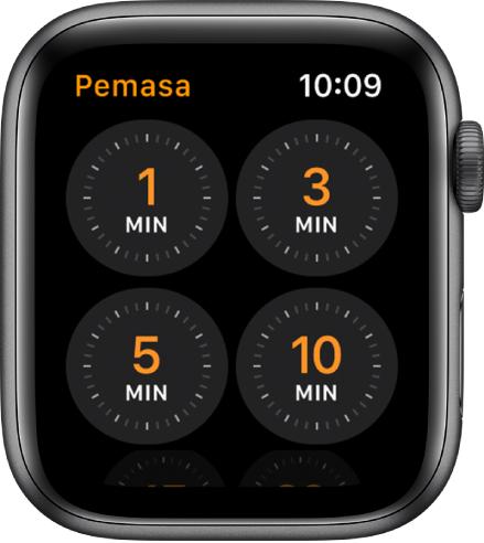 Skrin app Pemasa, menunjukkan pemasa cepat untuk 1. 3. 5. atau 10 minit.