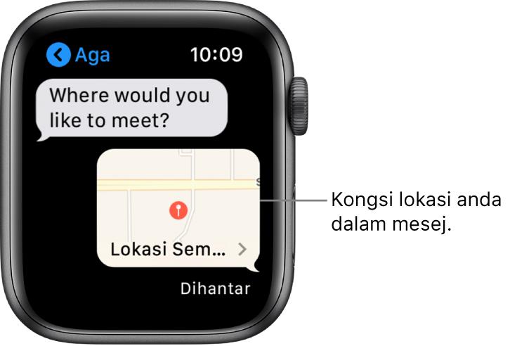 Skrin mesej menunjukkan peta lokasi pengirim.