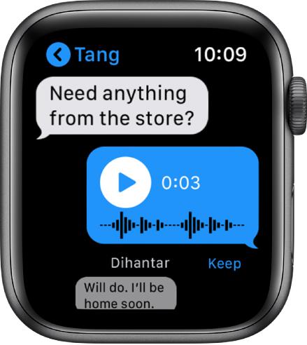 Skrin mesej menunjukkan perbualan. Balasan tengah adalah mesej audio dengan butang main.