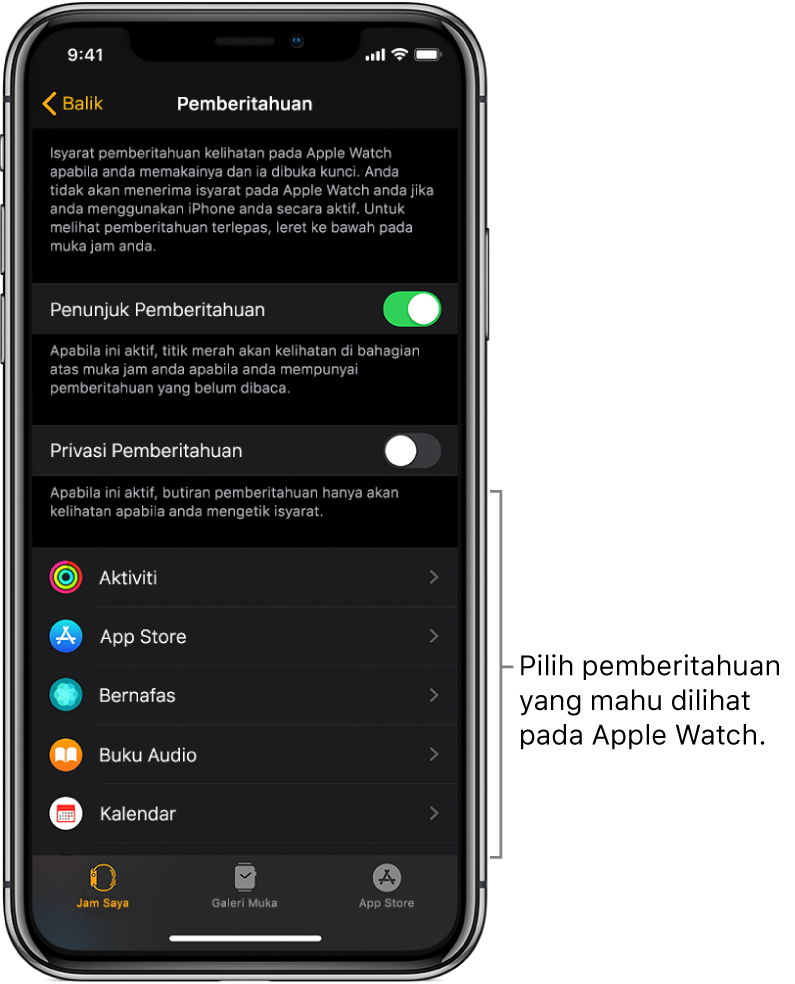 Skrin Pemberitahuan dalam app Apple Watch pada iPhone, menunjukkan sumber pemberitahuan.