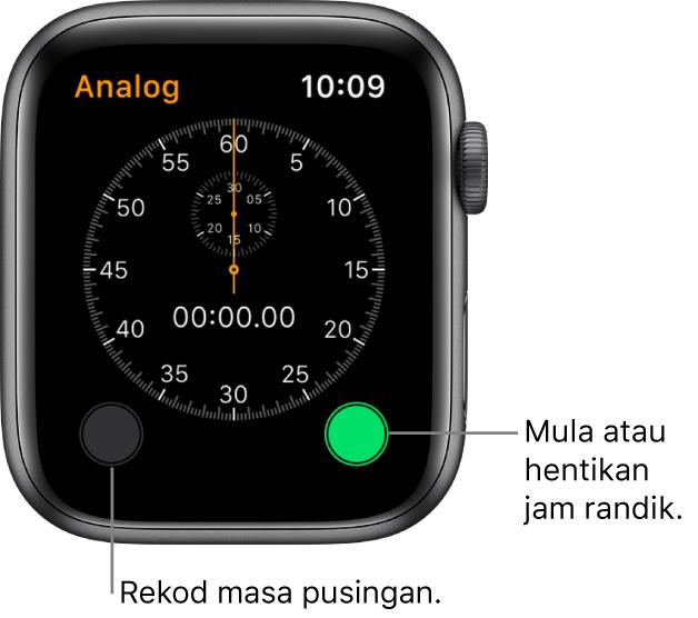 Skrin jam randik analog. Ketik butang sebelah kanan untuk mula dan menghentikannya dan butang sebelah kiri untuk merakam masa pusingan.