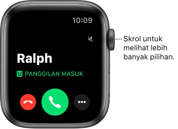 """Skrin Apple Watch apabila anda menerima panggilan: nama pemanggil, perkataan """"Panggilan Masuk"""", butang Tolak merah, butang Jawab hijau dan butang Pilihan Lanjut."""