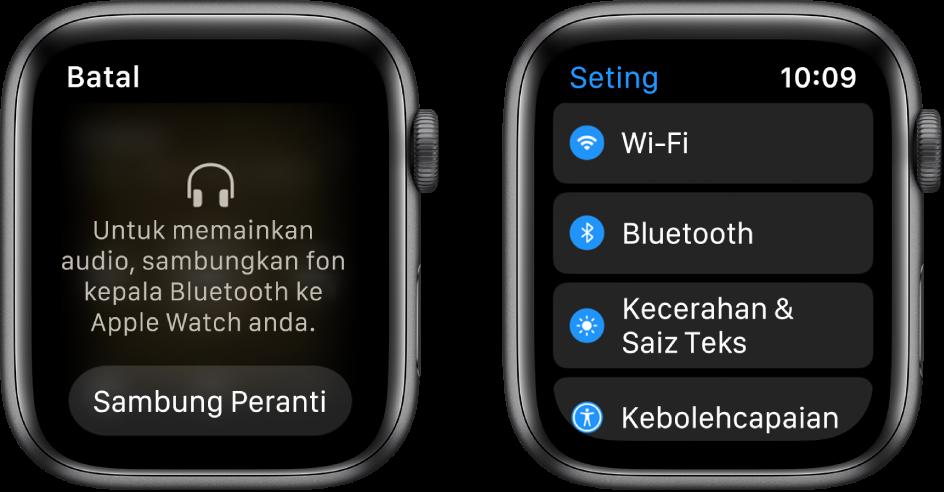 Jika anda menukar sumber audio kepada AppleWatch anda sebelum anda pasangkan speaker atau fon kepala Bluetooth, butang Sambung Peranti muncul di bahagian bawah skrin yang membawa anda ke seting Bluetooth pada AppleWatch anda, di mana anda boleh menambah peranti pendengaran.