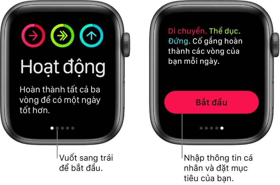 Hai màn hình: Một màn hình hiển thị màn hình đang mở của ứng dụng Hoạt động, màn hình còn lại hiển thị nút Bắt đầu.