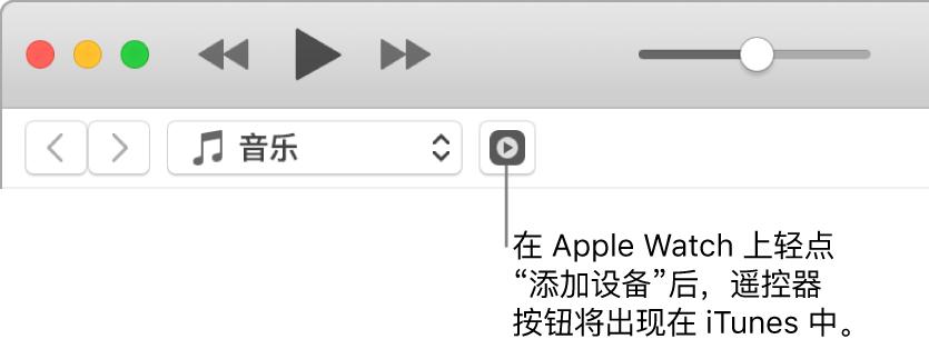 """当您尝试将资料库添加到 Apple Watch 时,iTunes 中的""""遥控器""""按钮会出现。"""