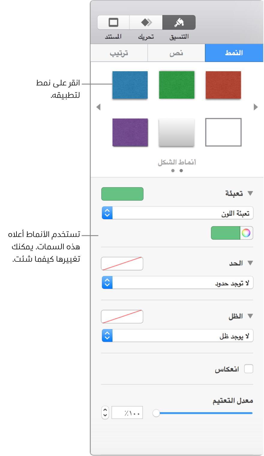 أنماط وخيارات الشكل في قسم التنسيق على الشريط الجانبي.