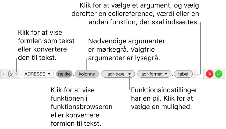 Formelværktøjet, der viser funktionen ADRESSE og dens argumentmærker.