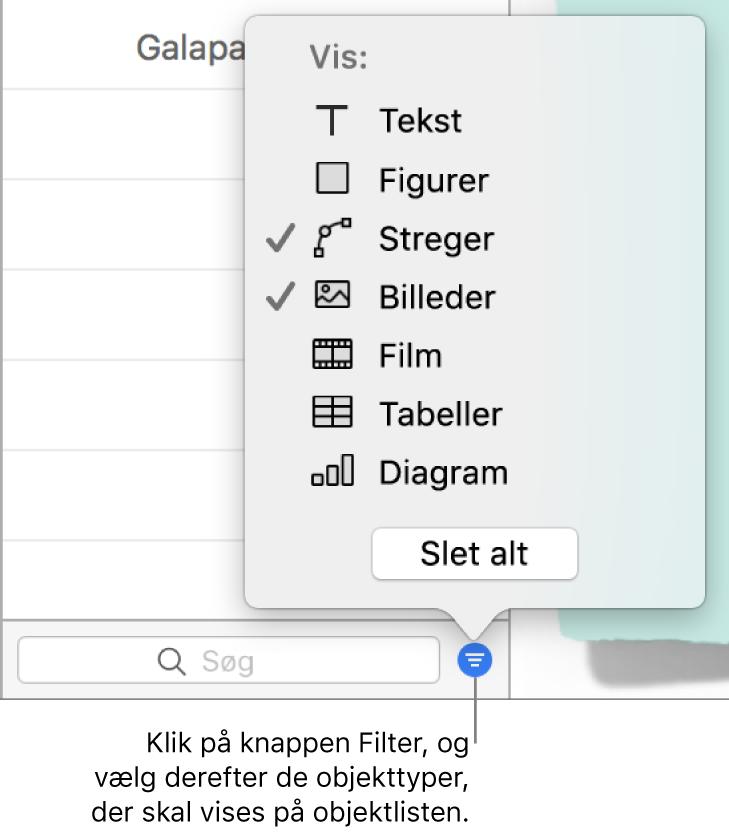 Lokalmenuen Filter åben med en liste med de typer objekter, listen kan indeholde (tekst, figurer, streger, billeder, film, tabeller og diagrammer).