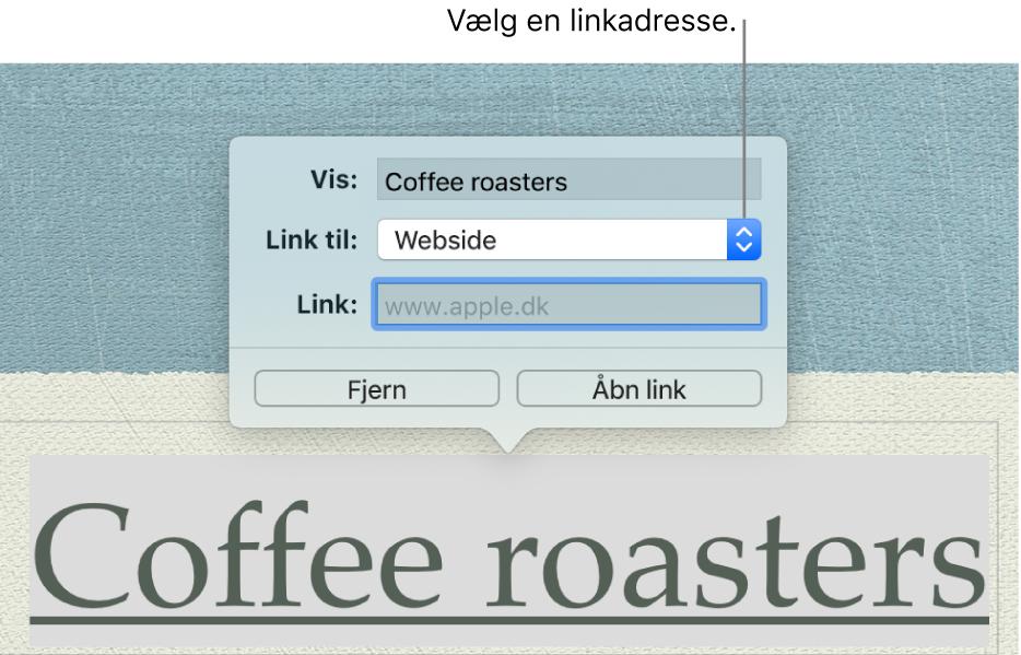 Redigeringsværktøjet til links med feltet Vis, lokalmenuen Link til (Webside er valgt) og feltet Link. Nederst i vinduet findes knapperne Fjern og Åbn link.