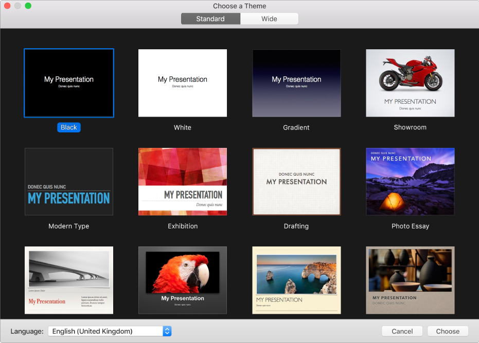 The theme chooser, showing thumbnails of pre-designed themes you can use to begin presentations.