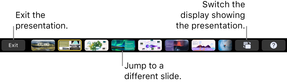 The MacBook Pro Touch Bar with presentation controls for exiting the presentation, jumping to different slides and switching the presenter display.