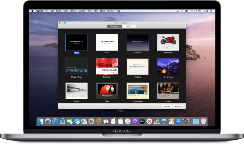 A MacBook Pro with the Keynote theme chooser open on the screen with buttons at the top for Standard and Wide. Standard is selected and thumbnail images of the templates appear below.