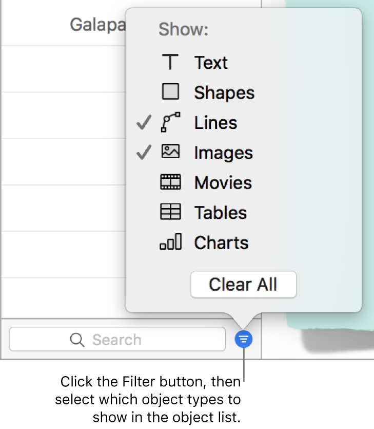 The Filter pop-up menu open, with a list of the types of objects the list can include (text, shapes, lines, images, movies, tables, and charts).