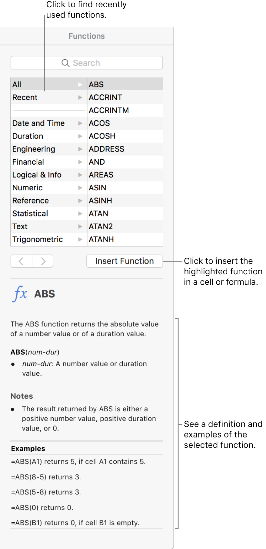 The Function Browser with callouts to recently used functions, the Insert Function button, and the function definition.