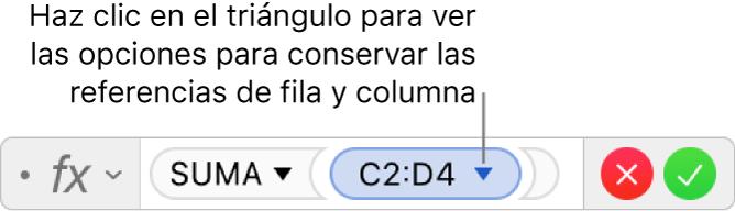 Editor de fórmulas mostrando cómo conservar la fila y la columna de una referencia de intervalo.