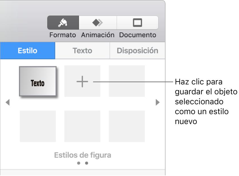 """La pestaña Estilo de la barra lateral Formato con un estilo de caja de texto, el botón """"Crear estilo"""" a la derecha y cuatro marcadores de posición de estilo vacíos."""