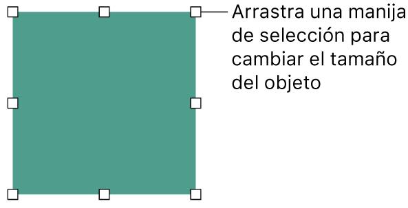 Un objeto con cuadrados blancos en su borde para cambiar el tamaño del objeto.