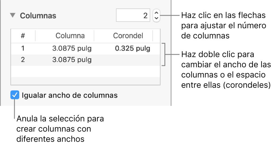 Controles de la sección de columnas para cambiar el número de columnas y el ancho de cada columna.
