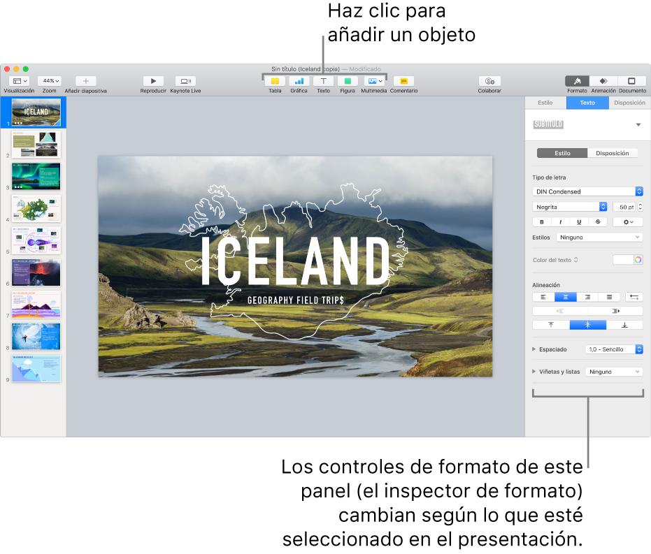 La ventana de Keynote con el navegador de diapositivas abierto a la izquierda y el inspector de formatos abierto a la derecha.