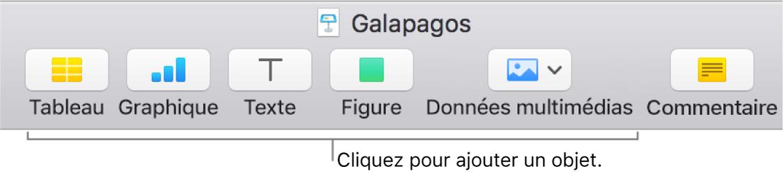 La barre d'outils Keynote, présentant les boutons utilisés pour ajouter un objet à une diapositive.