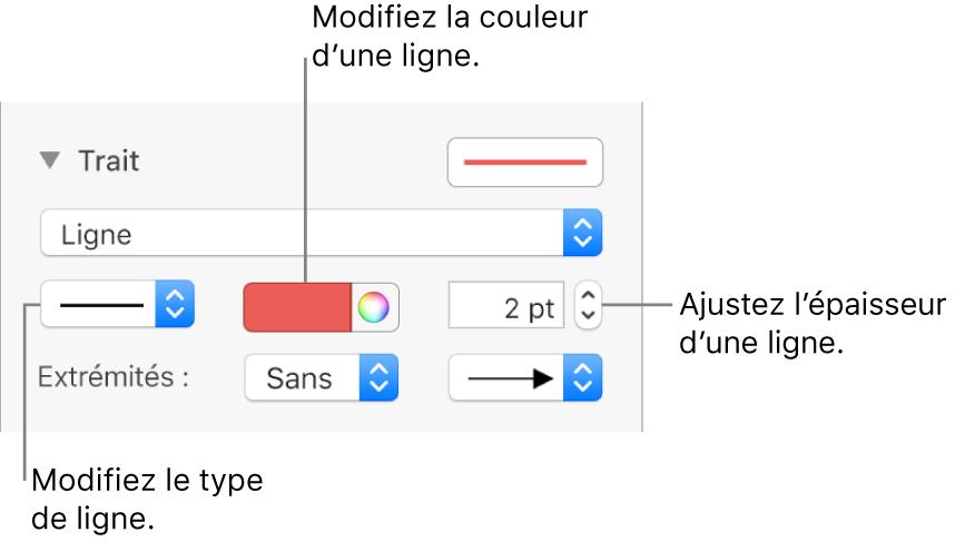 Les commandes de trait permettant de définir des extrémités, l'épaisseur du trait et sa couleur.