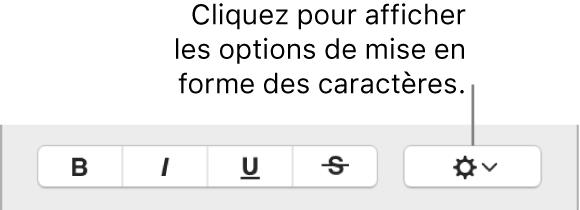 Case à cocher Options avancées en regard des boutons Gras, Italique et Souligné.