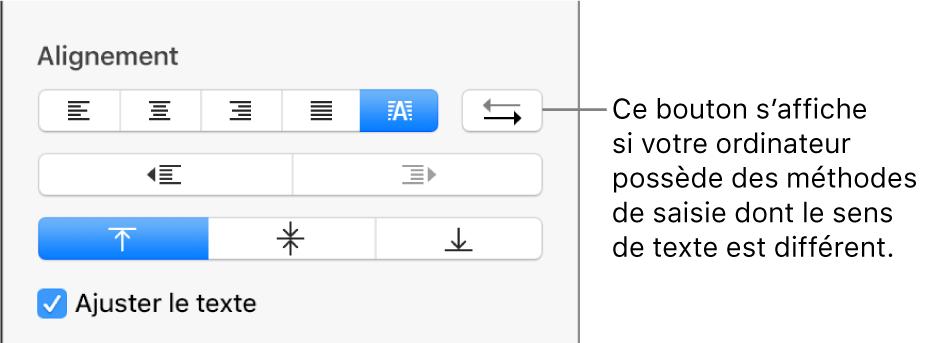 Bouton «Direction du paragraphe» des commandes d'alignement de texte.