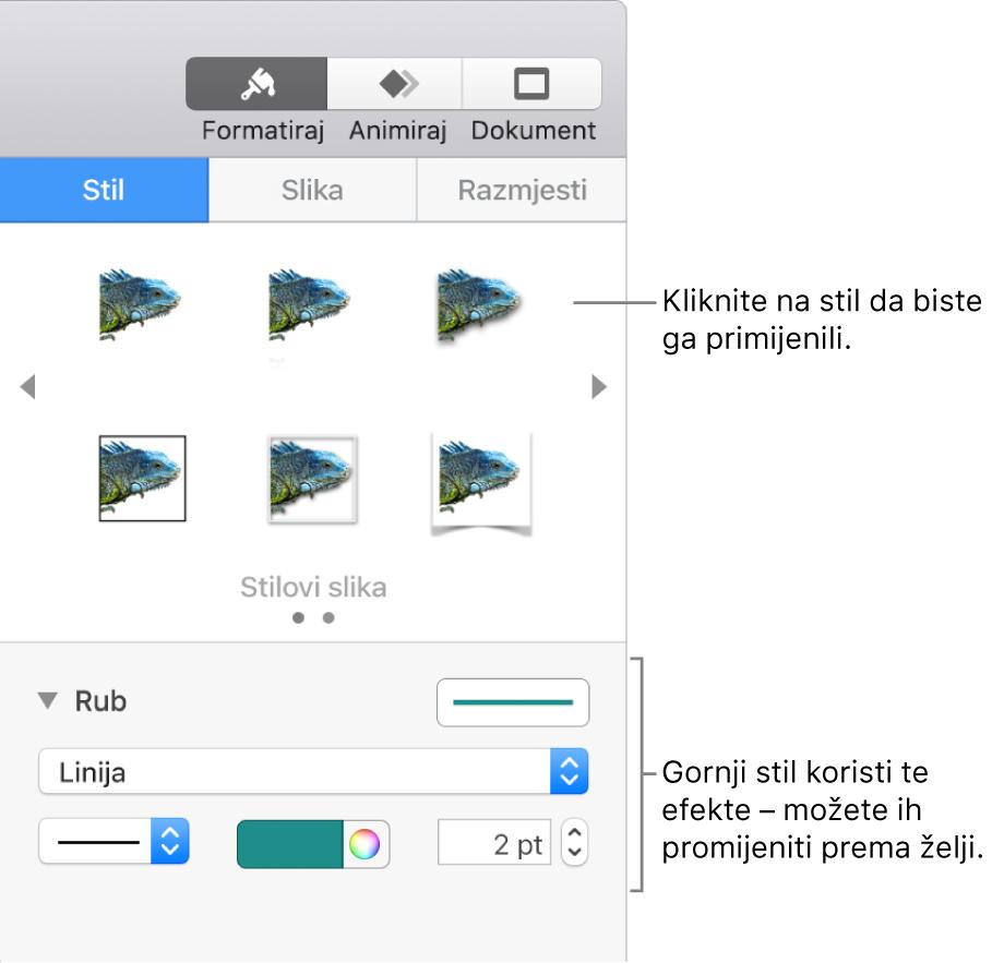 Kartica Stil u rubnom stupcu Format s prikazom opcija stila objekta.