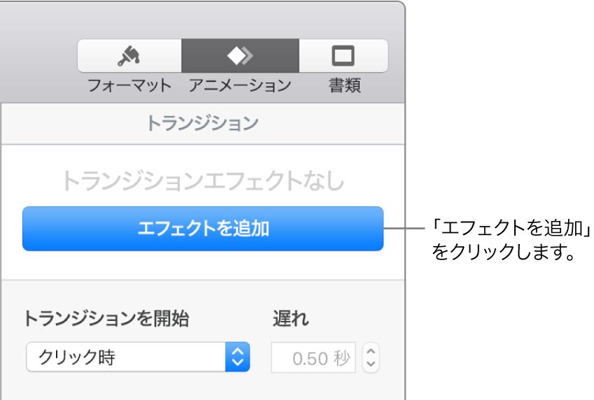 サイドバーの「アニメーション」セクションに表示されている「エフェクトを追加」ボタン。