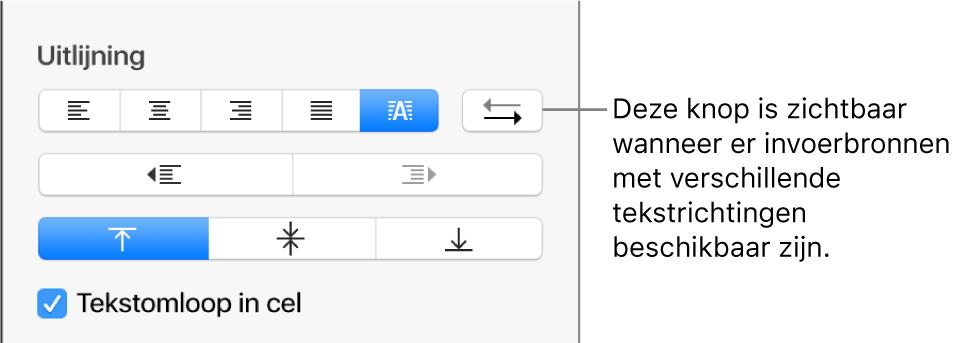 De knop voor de alinearichting in de regelaars voor het uitlijnen van tekst.