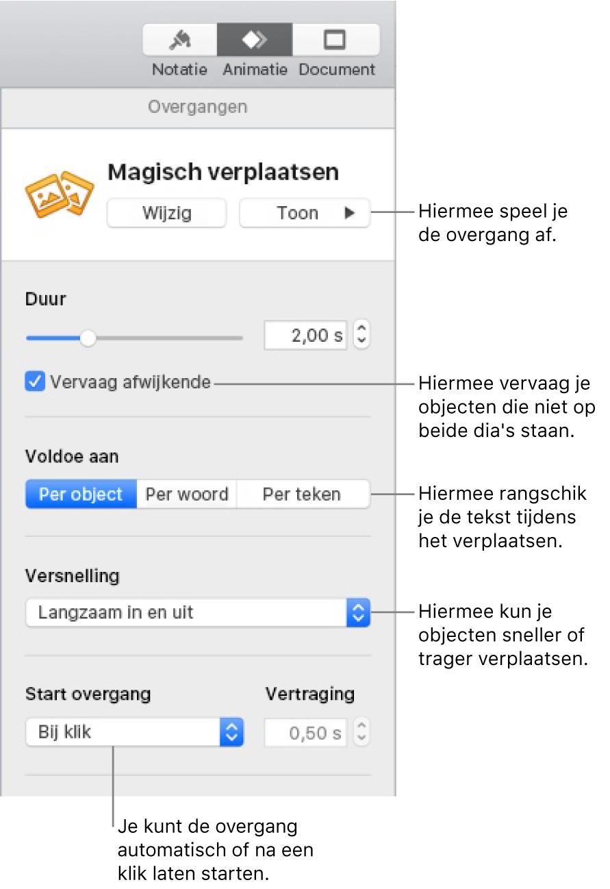 Overgangsregelaars voor 'Magisch verplaatsen' in het gedeelte 'Overgangen' van de navigatiekolom 'Animatie'.