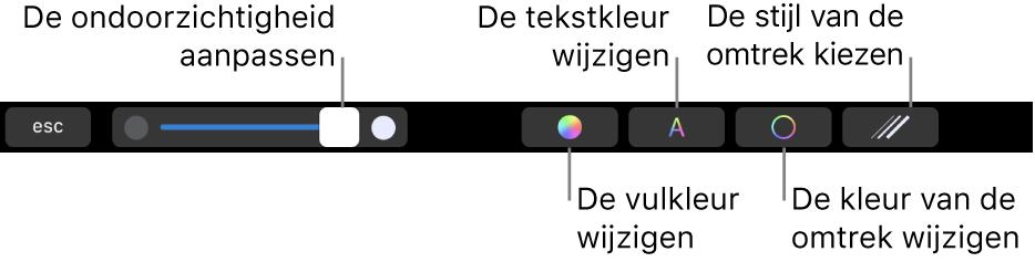 De TouchBar op een MacBookPro met regelaars voor het aanpassen van de ondoorzichtigheid van een vorm, het wijzigen van de vulkleur, de tekstkleur en de kleur van de omtrek, en het kiezen van een stijl voor de omtrek.