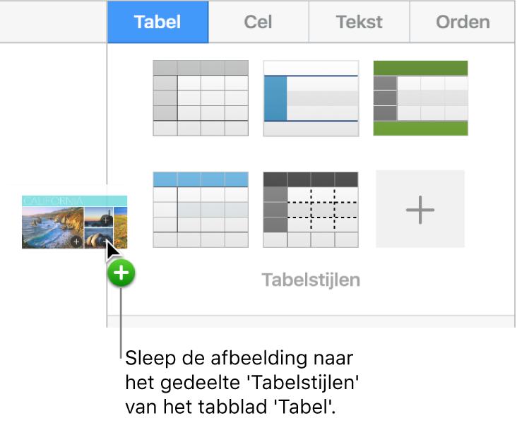 Een afbeelding in de tabelstijlen slepen om een nieuwe stijl aan te maken.