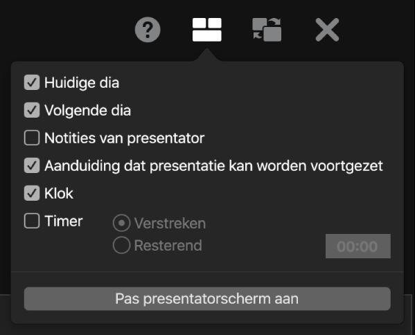 De opties voor de presentatorweergave: 'Huidige dia', 'Volgende dia', 'Notities van presentator', 'Aanduiding dat presentatie kan worden voortgezet', 'Klok' en 'Timer'. Bij 'Timer' kun je aangeven of je de verstreken tijd of de resterende tijd wilt weergeven.