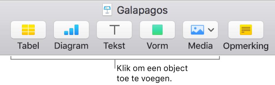De Keynote-knoppenbalk met knoppen om een object aan een dia toe te voegen.