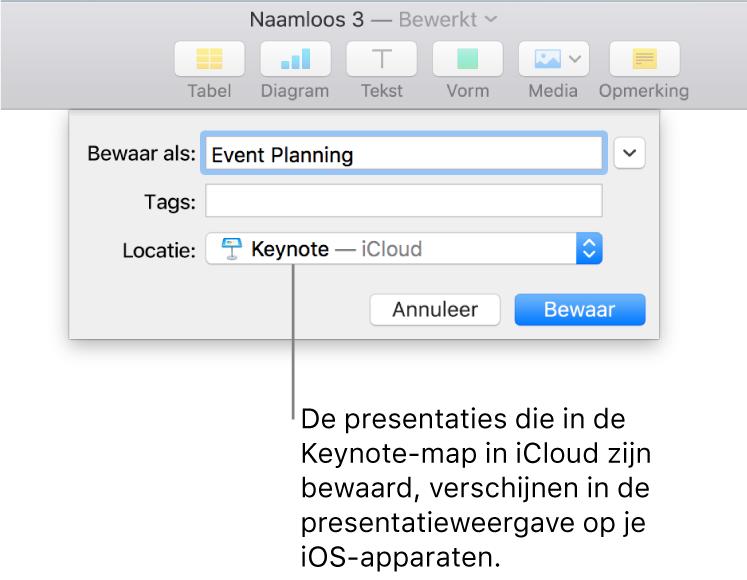 Het dialoogvenster 'Bewaar' voor een presentatie, met de optie 'Keynote- iCloud' in het venstermenu 'Locatie'.