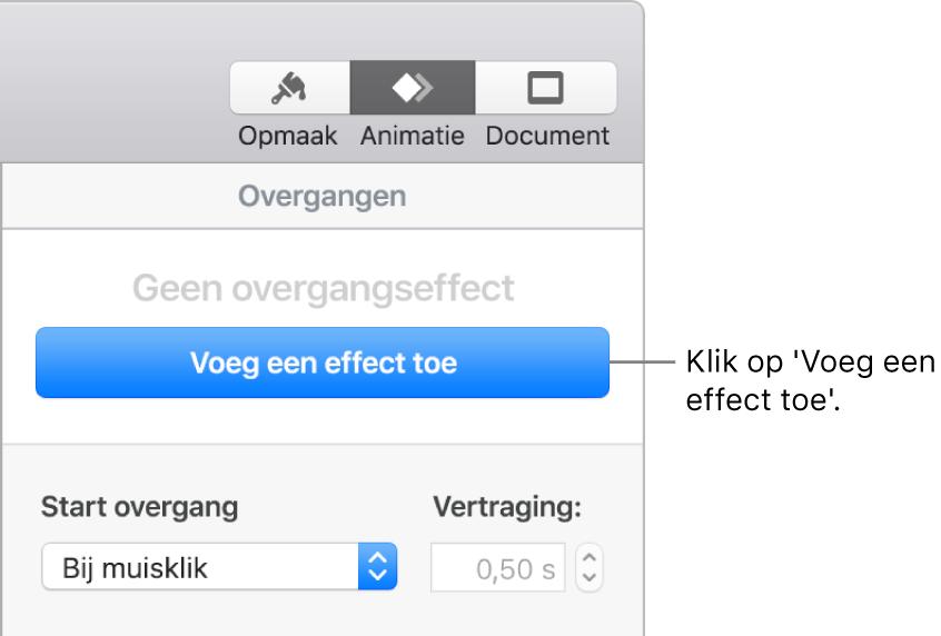 Knop 'Voeg een effect toe' in het gedeelte 'Animatie' van de navigatiekolom.