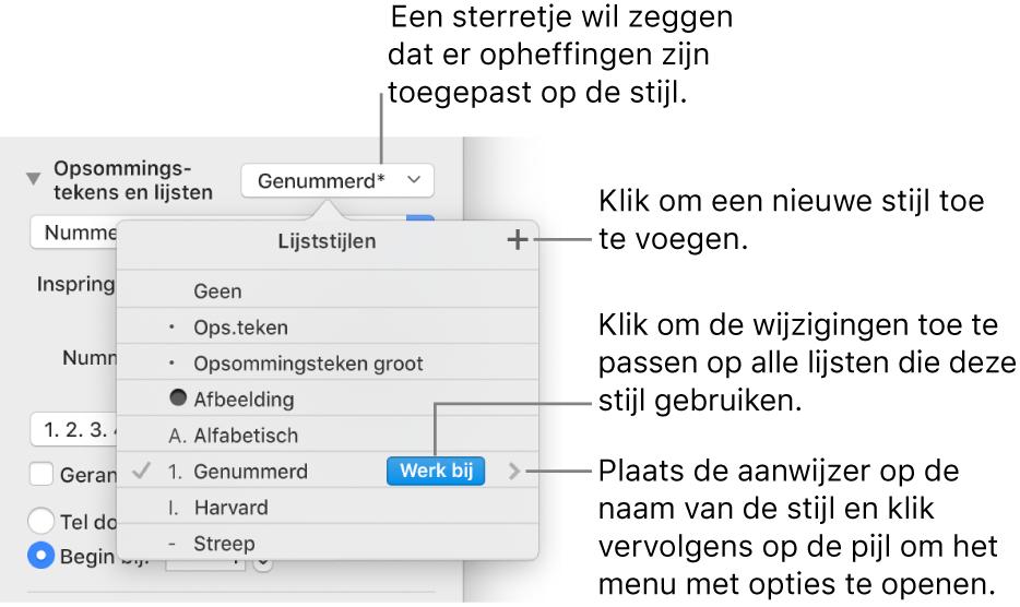 Het venstermenu 'Lijststijlen' met een sterretje dat een opheffing aangeeft, uitleg bij de knop 'Nieuwe stijl', en een submenu met opties voor het beheren van stijlen.