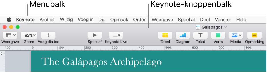 De menubalk boven in het scherm met de volgende menu's: Apple, Keynote, Archief, Wijzig, Voeg in, Opmaak, Orden, Weergave, Deel, Venster en Help. Onder de menubalk wordt een Keynote-presentatie weergegeven met bovenaan een knoppenbalk met knoppen voor Weergave, Zoom, Voeg dia toe, Speel af, Keynote Live, Tabel, Diagram, Tekst, Vorm, Media en Opmerking.