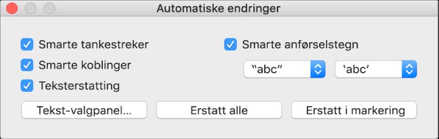 Automatiske endringer-vinduet.